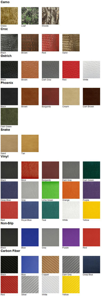 Hydro-Turf seat color chart